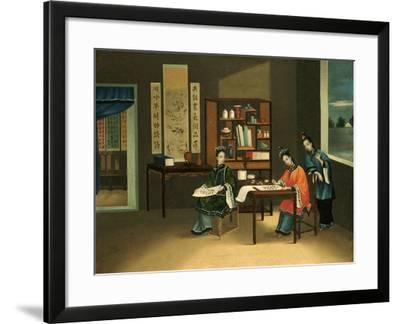 An Interior with a Woman Painting Flowers--Framed Giclee Print
