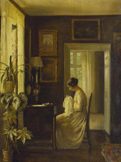 An Interior with a Woman Sewing-Carl Holsoe-Giclee Print