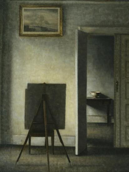 An Interior with the Artist's Easel-Vilhelm		 Hammershoi-Giclee Print