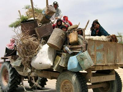 An Iraqi Family and Their Sheep Ride on Their Tractor to Fetch Water Outside the Town of Najaf--Photographic Print