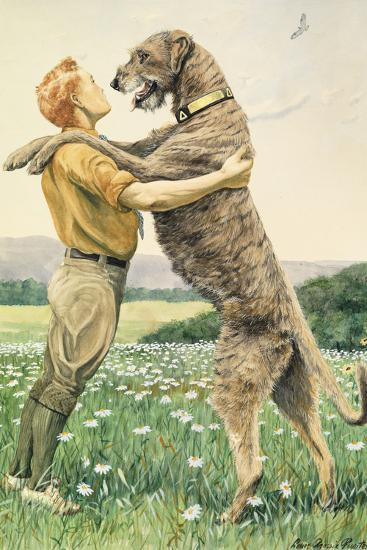 An Irish Wolfhound, on His Hind Legs, Stands Taller Than His Master-Louis Agassi Fuertes-Giclee Print
