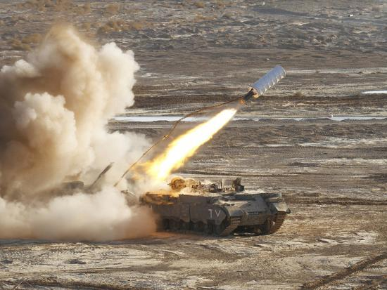 An Israel Defense Force Puma M26 Launches a Mine Clearing Line Charge-Stocktrek Images-Photographic Print