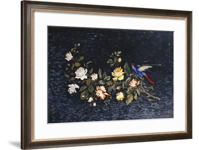 An Italian Pietre Dure Inlaid Black and White Variegated Marble Table Top (Pietre Dure)--Framed Giclee Print