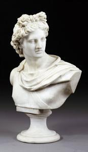 An Italian White Marble Bust of the Apollo Belvedere After the Antique, Second Half 19th Century