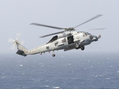 An Mh-60R Sea Hawk Helicopter Prepares to Land--Photographic Print
