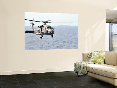 An Mh-60R Seahawk Helicopter in Flight over the Pacific Ocean-Stocktrek Images-Wall Mural
