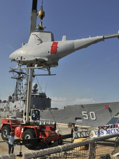 An MQ-8B Fire Scout Is Craned of USS McInerney-Stocktrek Images-Photographic Print