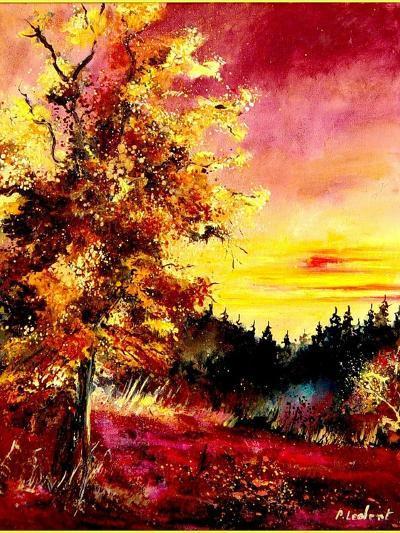 An oak in Autumn-Pol Ledent-Art Print