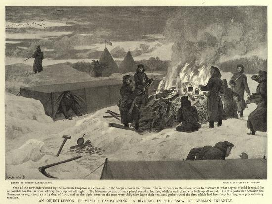 An Object-Lesson in Winter Campaigning, a Bivouac in the Snow of German  Infantry Giclee Print by Robert Barnes | Art com