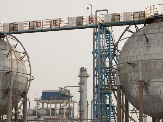 An Oil Refinery in the Daqing Oil Field in Northern China-Ashley Cooper-Photographic Print
