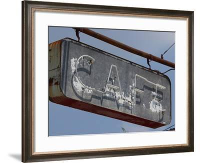 An Old and Faded Cafe Sign with Neon Lights--Framed Photographic Print