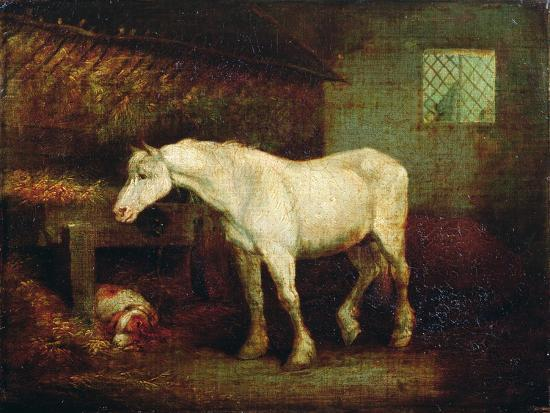 An Old Grey Mare at a Manger-George Morland-Giclee Print