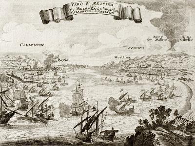 An Old Illustration Of Strait Of Messina, Between Italian Peninsula And Sicily-marzolino-Art Print