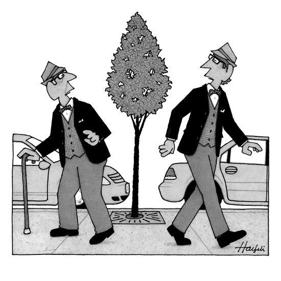 An old man and a young man dressed identically do a double-take as they ar? - New Yorker Cartoon-William Haefeli-Premium Giclee Print