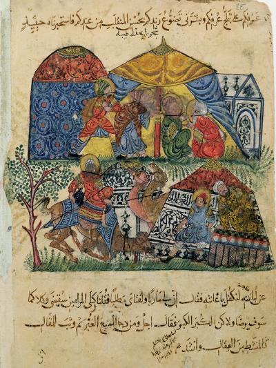 "An Old Man and a Young Man in Front of the Tents of the Rich Pilgrims, from ""The Maqamat""--Giclee Print"
