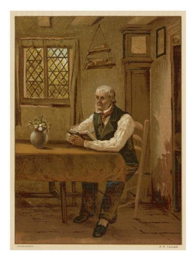 An Old Man Reading the Bible at Home at the Table--Giclee Print