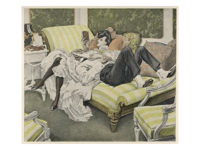 An Old Man with a White Beard and a Young Woman with a Book Relax on a Couch--Giclee Print