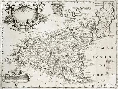 An Old Map Of Sicily, The Original Was Created By V-marzolino-Art Print