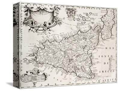 An Old Map Of Sicily, The Original Was Created By V-marzolino-Stretched Canvas Print
