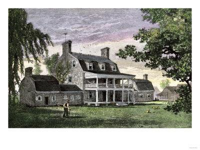 An Old Maryland Tobacco Plantation House With Outbuildings, 1800s  Giclee  Print Displayed On