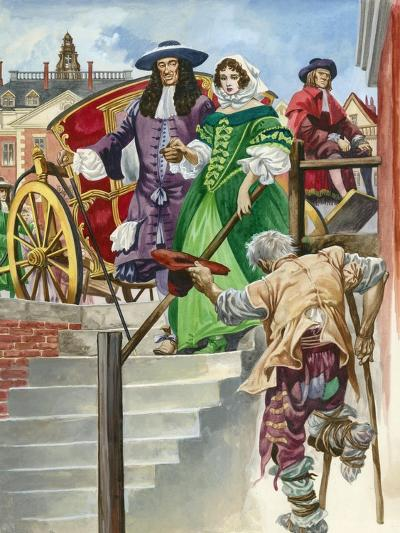 An Old Soldier Begs King Charles Ii, with the Chelsea Hospital Behind-Peter Jackson-Giclee Print