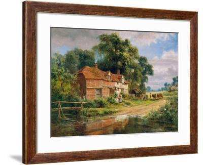 AN OLD SURREY FARM PAINTING BY ROBERT GALLON REPRO