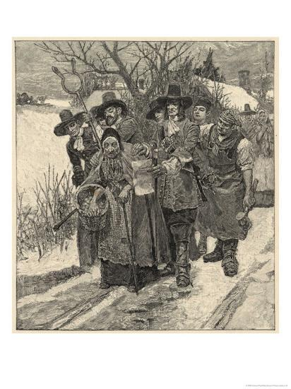 An Old Woman is Arrested as a Witch-Howard Pyle-Giclee Print