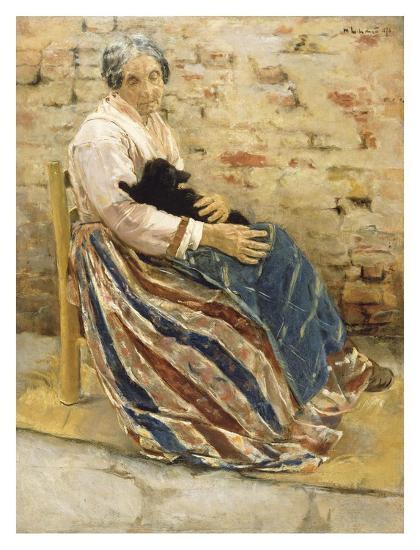An Old Woman with Cat-Max Liebermann-Art Print