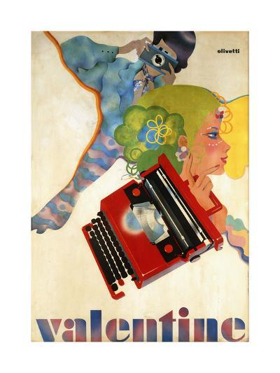 An Olivetti 'Valentine' Typewriter Promotional Poster, C.1969 (Colour Print, Wooden Frame)--Giclee Print