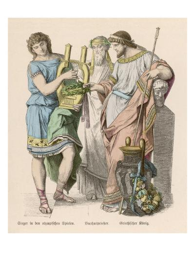 An Olympic Hero with a King and the Priest of Dionysos--Giclee Print