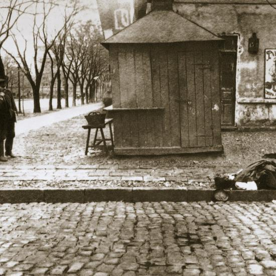 An onlooker observes a dead man left in the streets, Russia, early 20th century-Unknown-Photographic Print