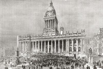 An Open Air Band Performance in Front of Leeds Town Hall--Giclee Print