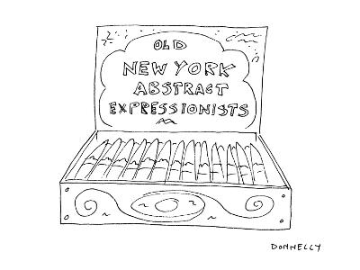 An open cigar box has a label on its inside cover that reads 'Old  New Yor? - Cartoon-Liza Donnelly-Premium Giclee Print