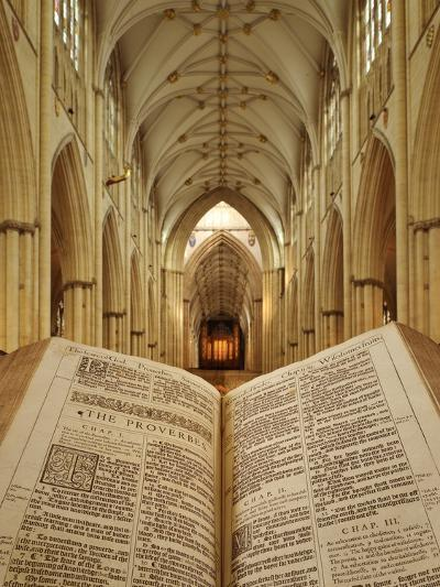 An Open King James Bible in the Gothic Cathedral of York Minster-Jim Richardson-Photographic Print