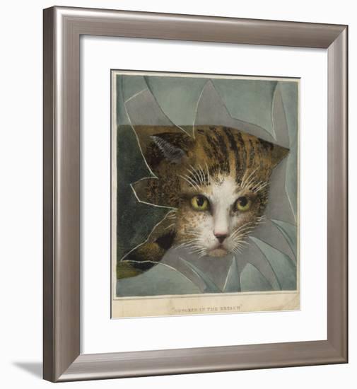 An Orange and Black Cat Looks Through a Broken Windowpane--Framed Giclee Print