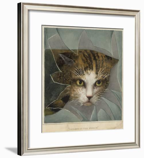 An Orange and Black Cat Looks Through a Broken Windowpane--Framed Giclee Print