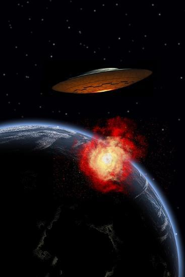 An Orbiting Ufo Launches a Deadly Attack Upon the Surface of Earth--Art Print