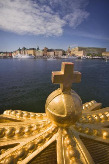 An Ornamental Crown of the Skeppsholmsbron, with Gamla Stan across the Water-Jon Hicks-Photographic Print