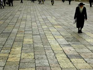An Orthodox Israeli Jew Walks Across the Plaza Next to the Western Wall