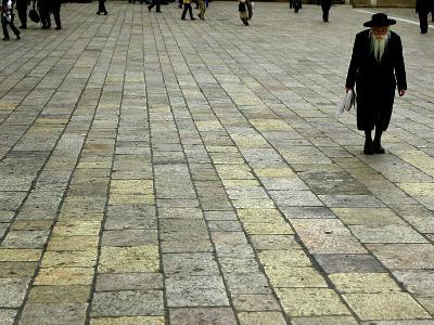 An Orthodox Israeli Jew Walks Across the Plaza Next to the Western Wall--Photographic Print