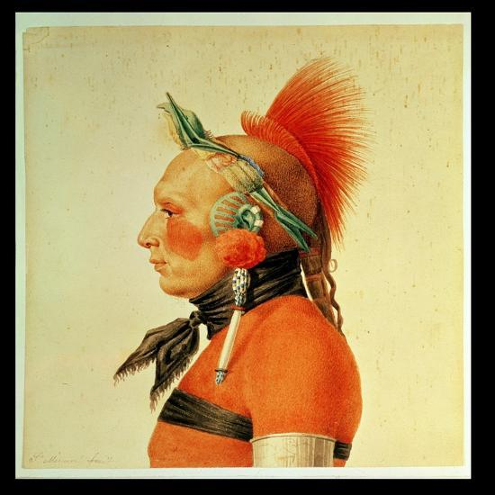 An Osage Warrior, 1804 (Colour Litho)-Charles Balthazar Julien Fevret De Saint-memin-Giclee Print