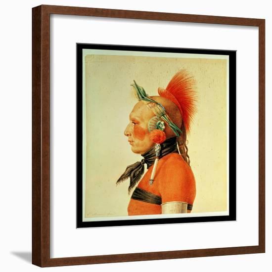 An Osage Warrior, 1804 (Colour Litho)-Charles Balthazar Julien Fevret De Saint-memin-Framed Giclee Print