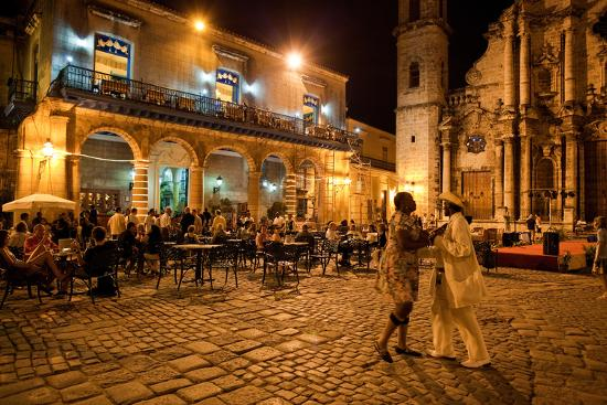 An Outdoor Restaurant and Salsa Dancers on the Cobble Stoned Plaza Catedral in Old Havana-Dmitri Alexander-Photographic Print