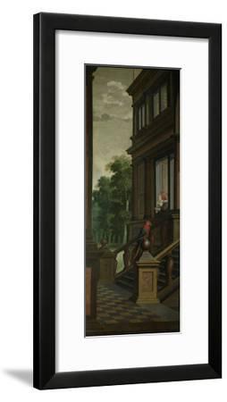 An Outdoor Stairway with Macaw-Dirck Van Delen-Framed Art Print