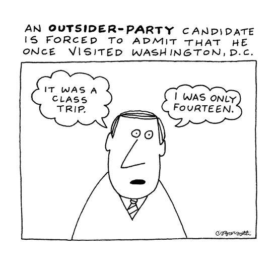 An Outsider?Party Candidate Is Forced To Admit That He Once Visited Washin? - New Yorker Cartoon-Charles Barsotti-Premium Giclee Print