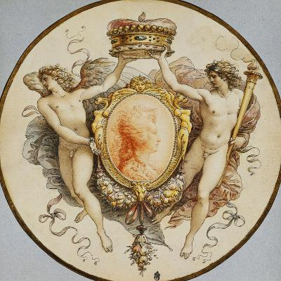 An Oval Portrait of a Woman in Profile with a Decorative Border of Grotesques and Swags, with…-Giuseppe Cades-Giclee Print