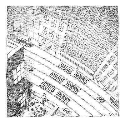 An overhead shot of a street reveals three lanes reserved for the police, ? - New Yorker Cartoon-John O'brien-Premium Giclee Print