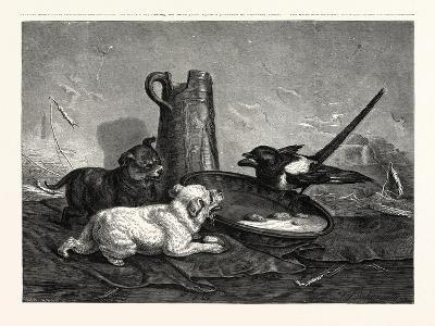 An Unbidden Guest. Dogs and Bird Dinner--Giclee Print