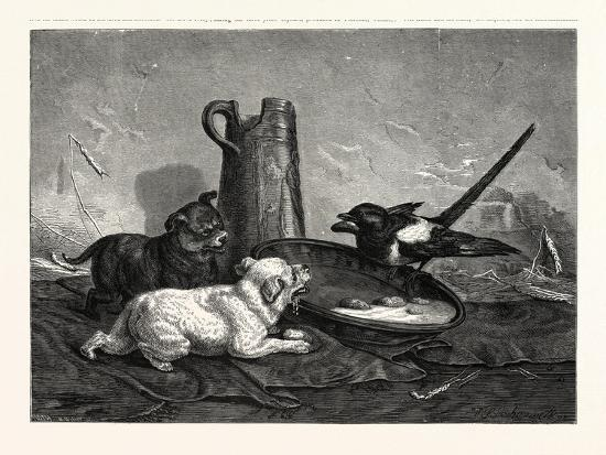 An Unbidden Guest. Dogs and Bird Dinner--Giclee Print