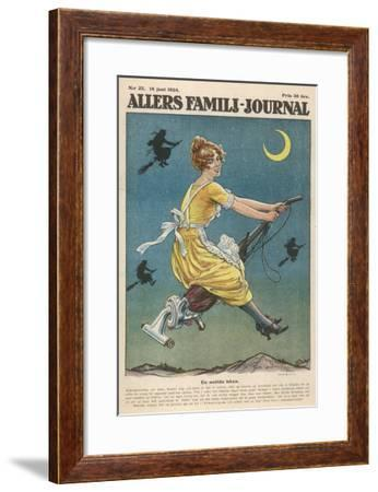 An Up-To-Date Witch Rides Her Vacuum Cleaner to Travel to the Sabbat--Framed Giclee Print